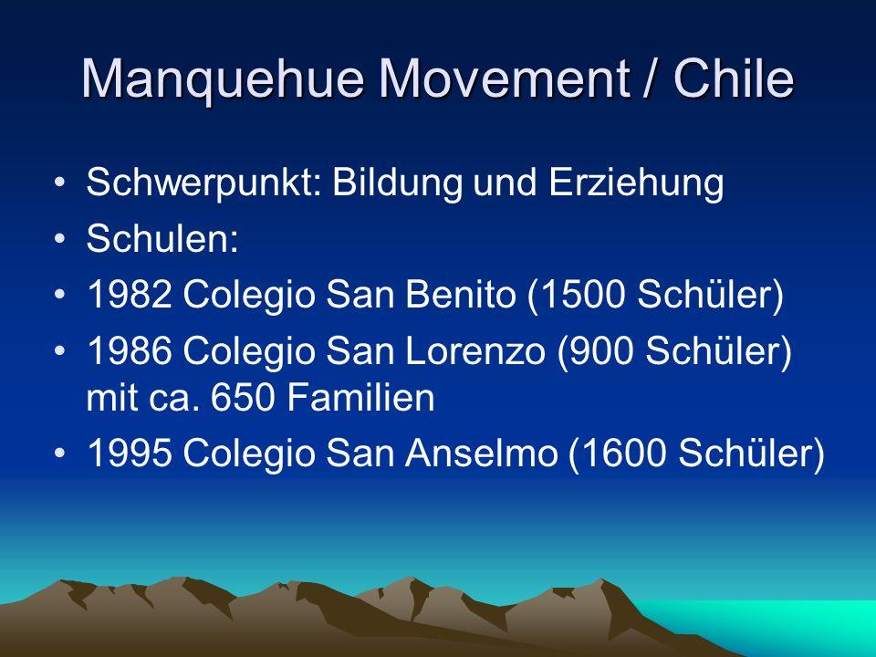 Manquehue Movement / Chile Schwerpunkt: Bildung und Erziehung Schulen: 1982 Colegio San Benito (1500 Schüler) 1986 Colegio San Lorenzo (900 Schüler) mit ca.