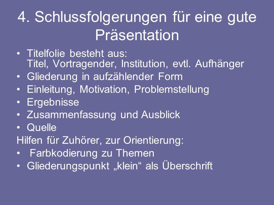 4. Schlussfolgerungen für eine gute Präsentation Titelfolie besteht aus: Titel, Vortragender, Institution, evtl. Aufhänger Gliederung in aufzählender