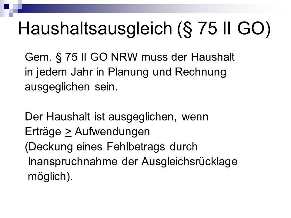 Haushaltsausgleich (§ 75 II GO) Gem. § 75 II GO NRW muss der Haushalt in jedem Jahr in Planung und Rechnung ausgeglichen sein. Der Haushalt ist ausgeg