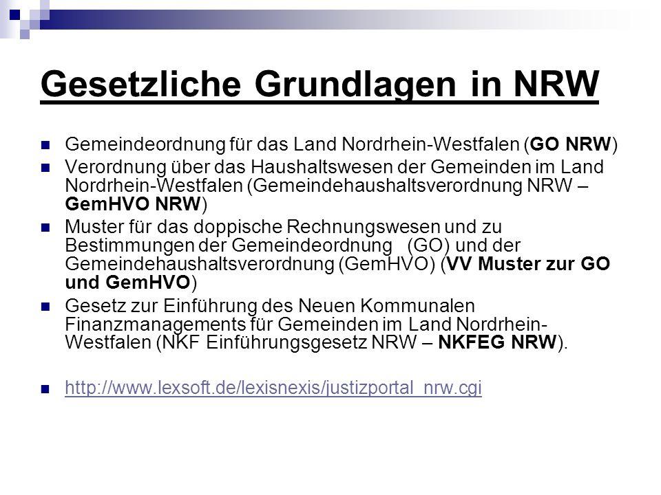 Gesetzliche Grundlagen in NRW Gemeindeordnung für das Land Nordrhein-Westfalen (GO NRW) Verordnung über das Haushaltswesen der Gemeinden im Land Nordr