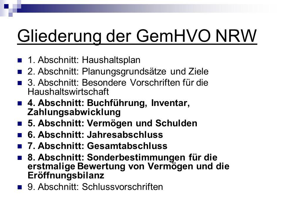 Gliederung der GemHVO NRW 1. Abschnitt: Haushaltsplan 2. Abschnitt: Planungsgrundsätze und Ziele 3. Abschnitt: Besondere Vorschriften für die Haushalt