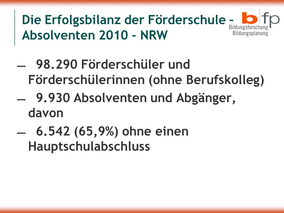 Die Erfolgsbilanz der Förderschule – Absolventen 2010 - NRW 98.290 Förderschüler und Förderschülerinnen (ohne Berufskolleg) 9.930 Absolventen und Abgä