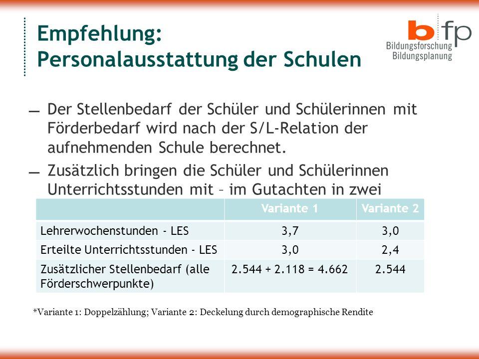 Empfehlung: Personalausstattung der Schulen Der Stellenbedarf der Schüler und Schülerinnen mit Förderbedarf wird nach der S/L-Relation der aufnehmende