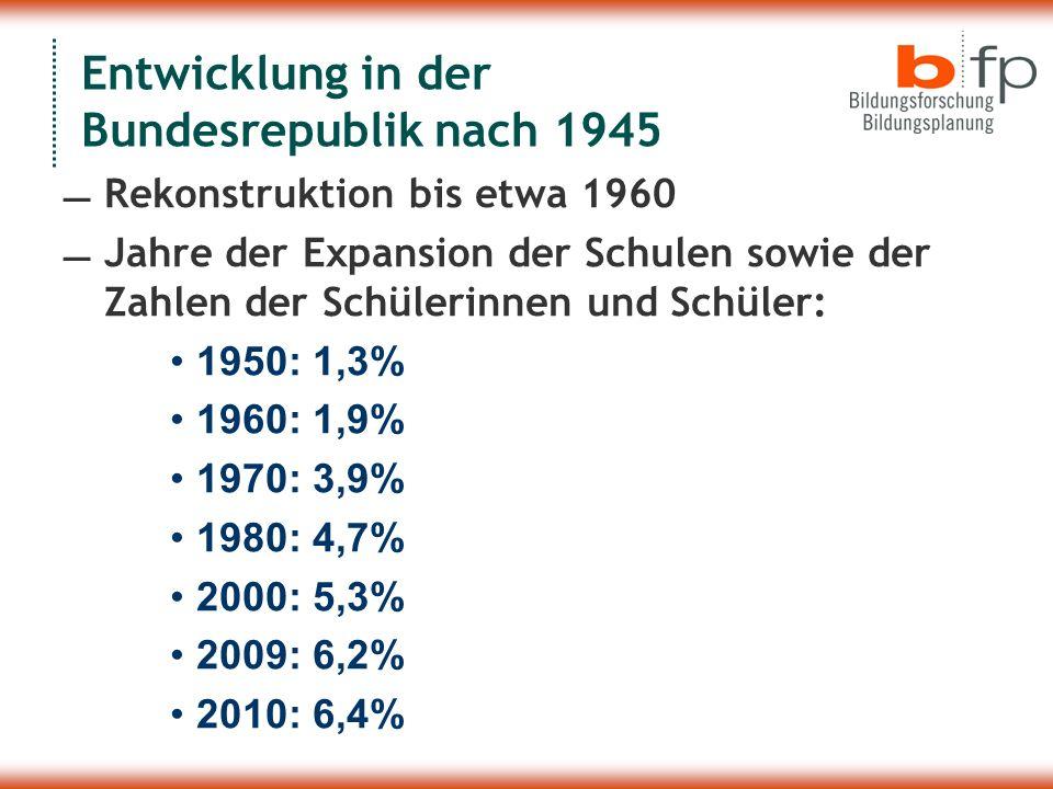 Entwicklung in der Bundesrepublik nach 1945 Rekonstruktion bis etwa 1960 Jahre der Expansion der Schulen sowie der Zahlen der Schülerinnen und Schüler