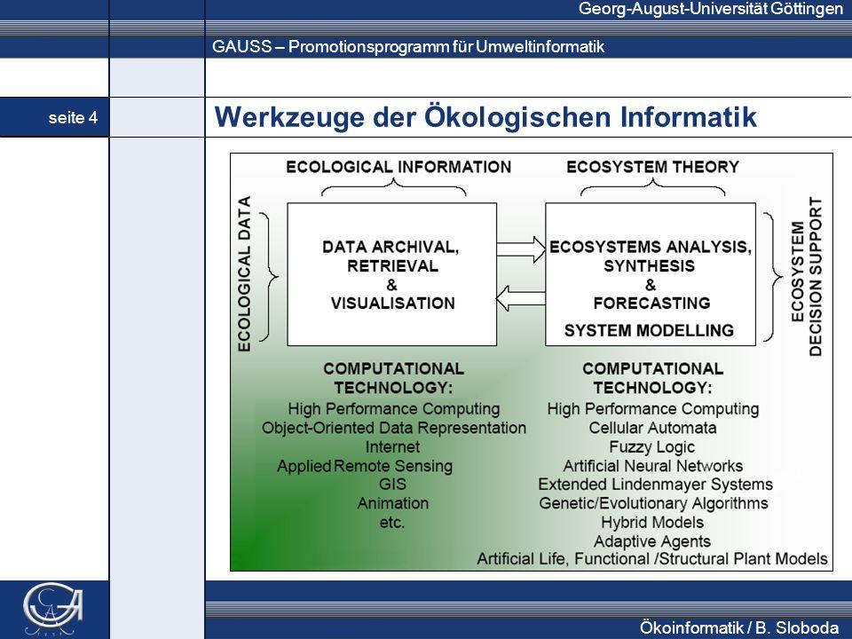 GAUSS – Promotionsprogramm für Umweltinformatik Georg-August-Universität Göttingen seite 4 Ökoinformatik / B. Sloboda Werkzeuge der Ökologischen Infor