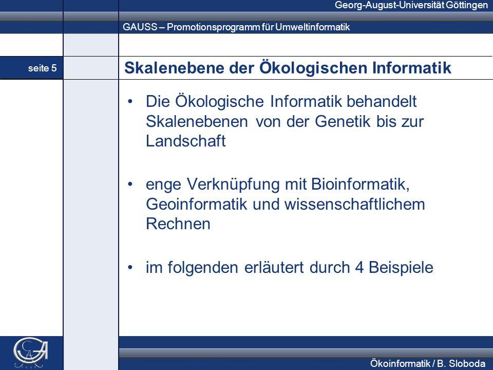 GAUSS – Promotionsprogramm für Umweltinformatik Georg-August-Universität Göttingen seite 5 Ökoinformatik / B. Sloboda Skalenebene der Ökologischen Inf