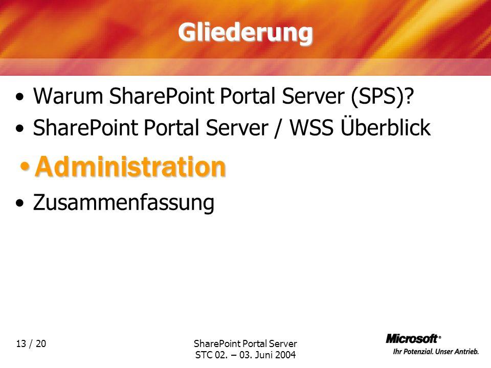 SharePoint Portal Server STC 02. – 03. Juni 2004 13 / 20Gliederung Warum SharePoint Portal Server (SPS)? SharePoint Portal Server / WSS Überblick Admi