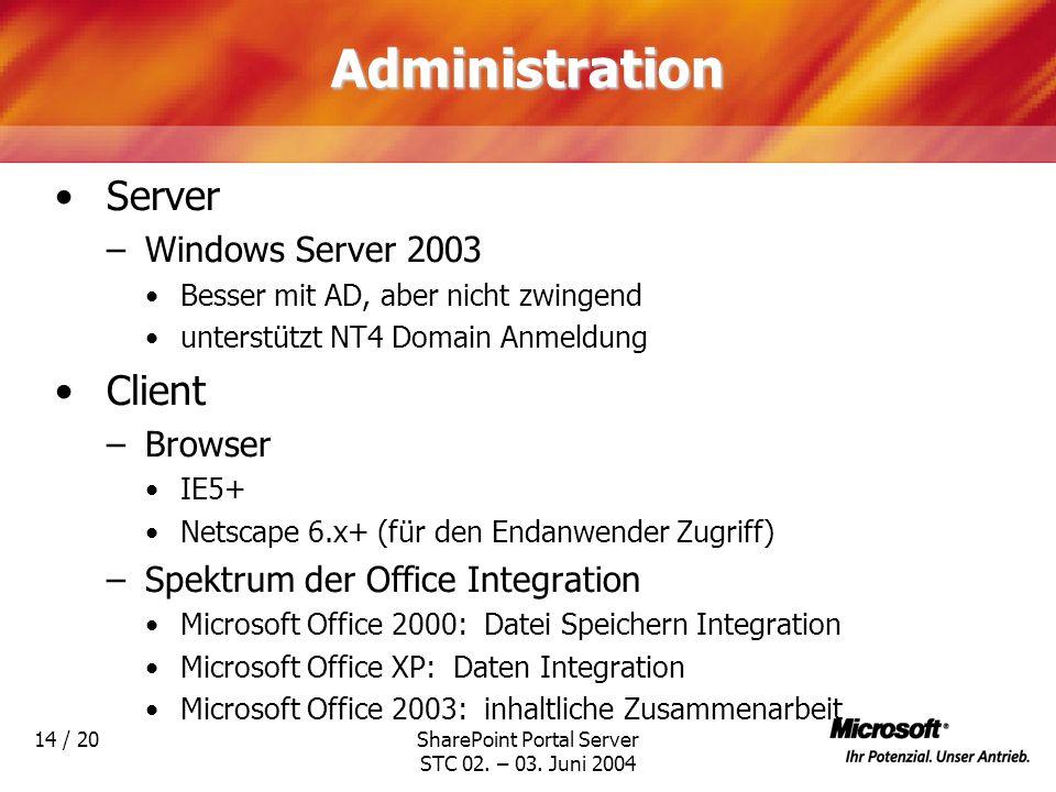 SharePoint Portal Server STC 02. – 03. Juni 2004 14 / 20Administration Server –Windows Server 2003 Besser mit AD, aber nicht zwingend unterstützt NT4