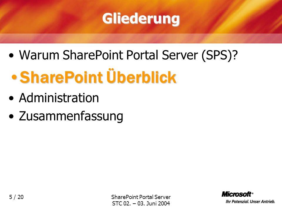 SharePoint Portal Server STC 02. – 03. Juni 2004 5 / 20Gliederung Warum SharePoint Portal Server (SPS)? SharePoint ÜberblickSharePoint Überblick Admin