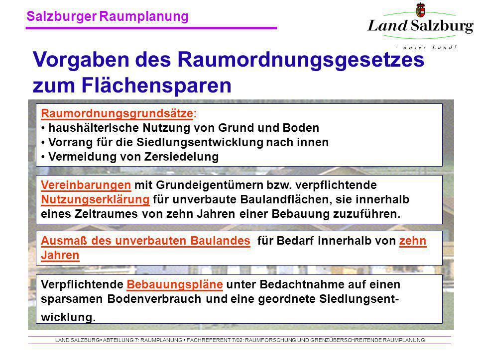 Salzburger Raumplanung LAND SALZBURG ABTEILUNG 7: RAUMPLANUNG FACHREFERENT 7/02: RAUMFORSCHUNG UND GRENZÜBERSCHREITENDE RAUMPLANUNG Raumordnungsgrunds