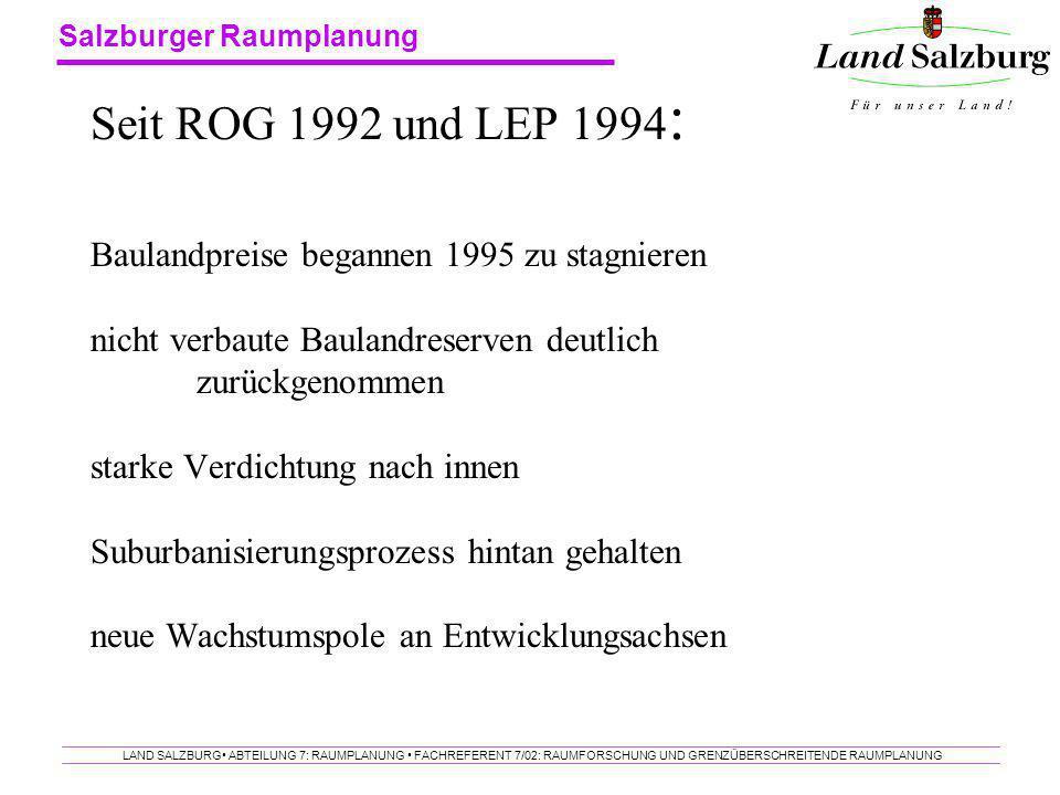 Salzburger Raumplanung LAND SALZBURG ABTEILUNG 7: RAUMPLANUNG FACHREFERENT 7/02: RAUMFORSCHUNG UND GRENZÜBERSCHREITENDE RAUMPLANUNG Seit ROG 1992 und