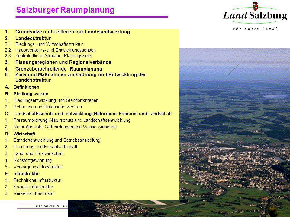 Salzburger Raumplanung LAND SALZBURG ABTEILUNG 7: RAUMPLANUNG FACHREFERENT 7/02: RAUMFORSCHUNG UND GRENZÜBERSCHREITENDE RAUMPLANUNG 1.Grundsätze und L