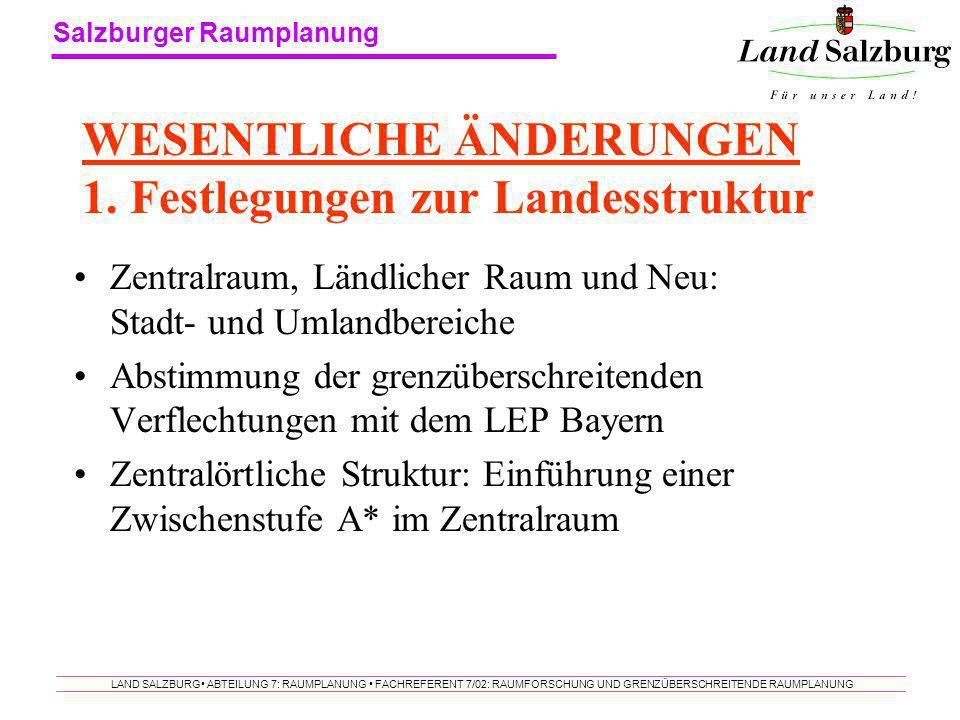 Salzburger Raumplanung LAND SALZBURG ABTEILUNG 7: RAUMPLANUNG FACHREFERENT 7/02: RAUMFORSCHUNG UND GRENZÜBERSCHREITENDE RAUMPLANUNG WESENTLICHE ÄNDERU
