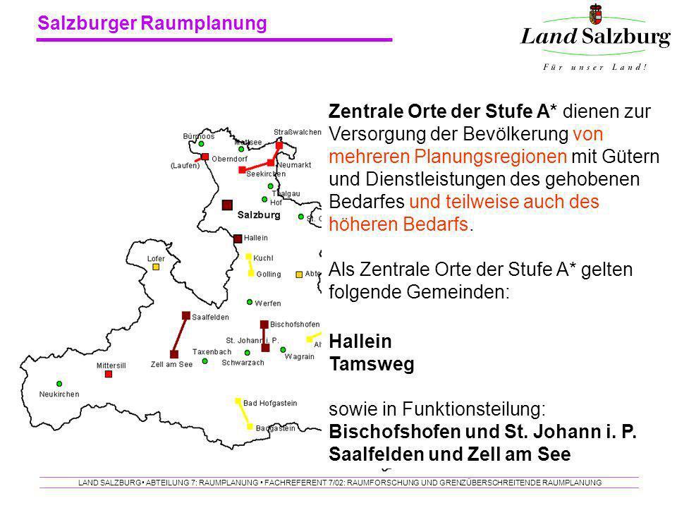Salzburger Raumplanung LAND SALZBURG ABTEILUNG 7: RAUMPLANUNG FACHREFERENT 7/02: RAUMFORSCHUNG UND GRENZÜBERSCHREITENDE RAUMPLANUNG Zentrale Orte der