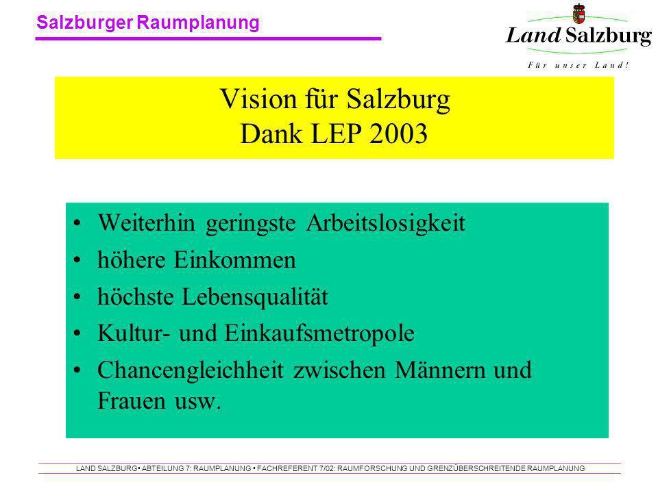 Salzburger Raumplanung LAND SALZBURG ABTEILUNG 7: RAUMPLANUNG FACHREFERENT 7/02: RAUMFORSCHUNG UND GRENZÜBERSCHREITENDE RAUMPLANUNG Vision für Salzbur