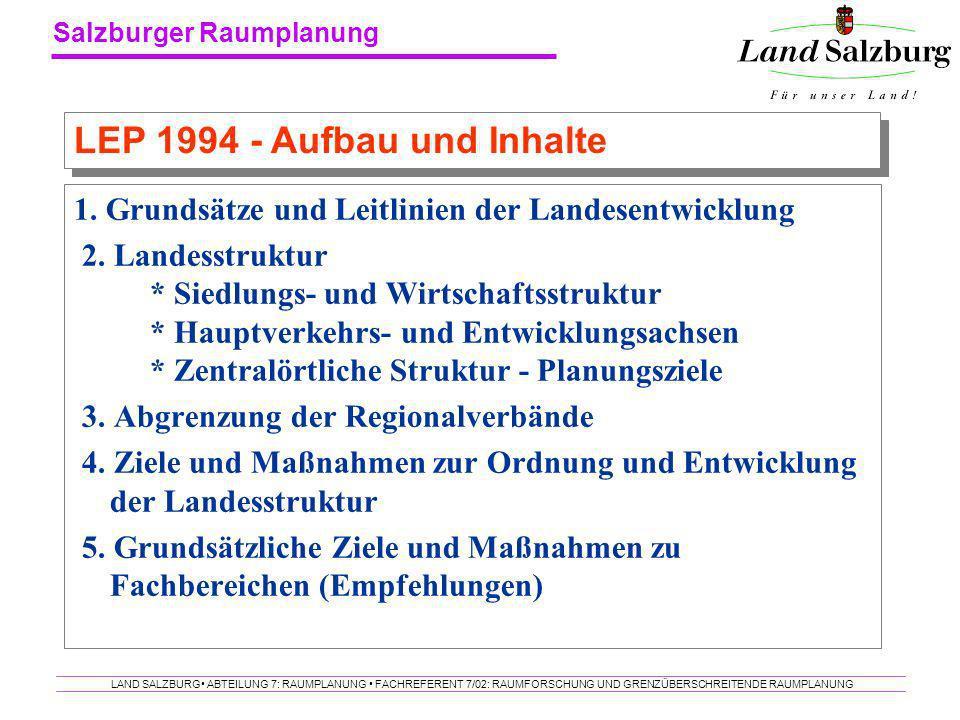Salzburger Raumplanung LAND SALZBURG ABTEILUNG 7: RAUMPLANUNG FACHREFERENT 7/02: RAUMFORSCHUNG UND GRENZÜBERSCHREITENDE RAUMPLANUNG 1. Grundsätze und