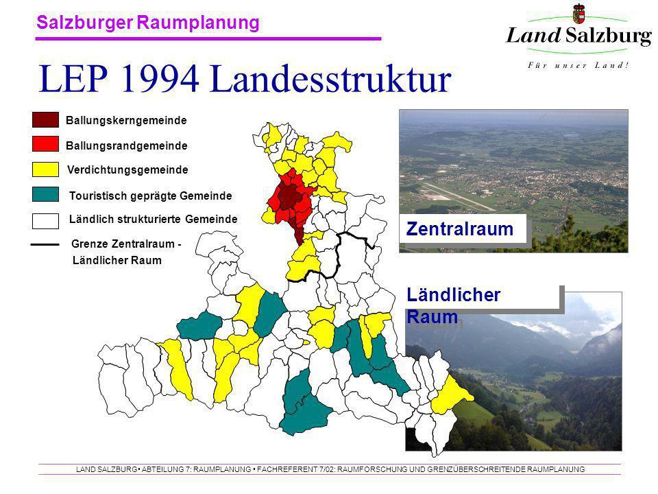 Salzburger Raumplanung LAND SALZBURG ABTEILUNG 7: RAUMPLANUNG FACHREFERENT 7/02: RAUMFORSCHUNG UND GRENZÜBERSCHREITENDE RAUMPLANUNG LEP 1994 Landesstr