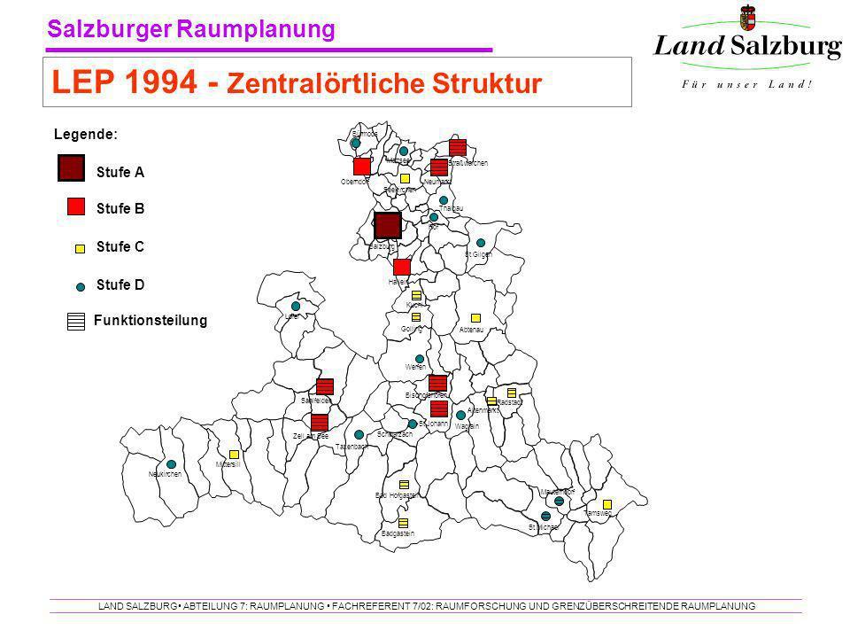 Salzburger Raumplanung LAND SALZBURG ABTEILUNG 7: RAUMPLANUNG FACHREFERENT 7/02: RAUMFORSCHUNG UND GRENZÜBERSCHREITENDE RAUMPLANUNG LEP 1994 - Zentral