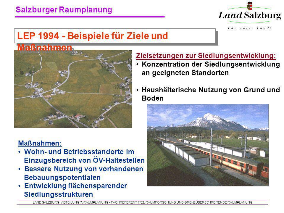 Salzburger Raumplanung LAND SALZBURG ABTEILUNG 7: RAUMPLANUNG FACHREFERENT 7/02: RAUMFORSCHUNG UND GRENZÜBERSCHREITENDE RAUMPLANUNG Zielsetzungen zur