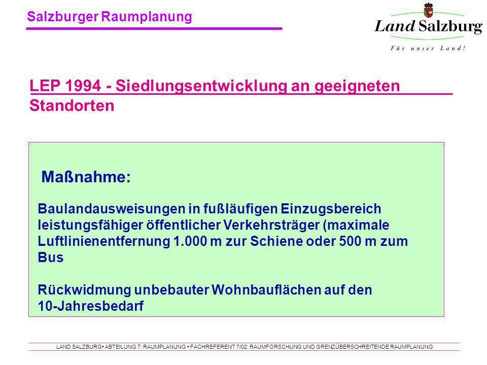 Salzburger Raumplanung LAND SALZBURG ABTEILUNG 7: RAUMPLANUNG FACHREFERENT 7/02: RAUMFORSCHUNG UND GRENZÜBERSCHREITENDE RAUMPLANUNG LEP 1994 - Siedlun
