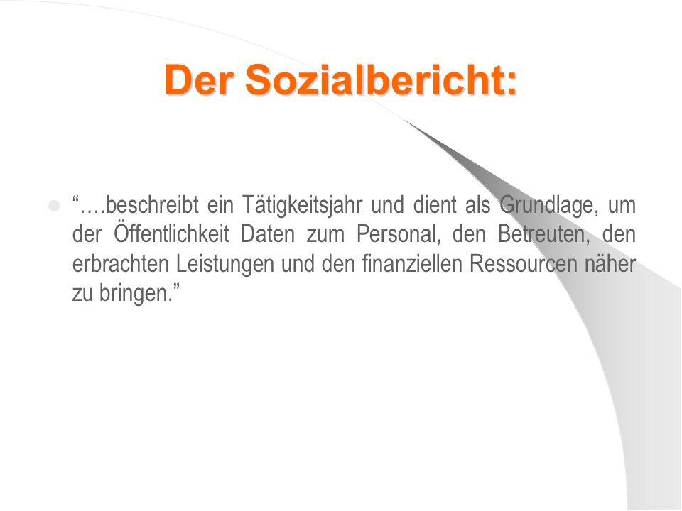 Der Sozialbericht: ….beschreibt ein Tätigkeitsjahr und dient als Grundlage, um der Öffentlichkeit Daten zum Personal, den Betreuten, den erbrachten Le