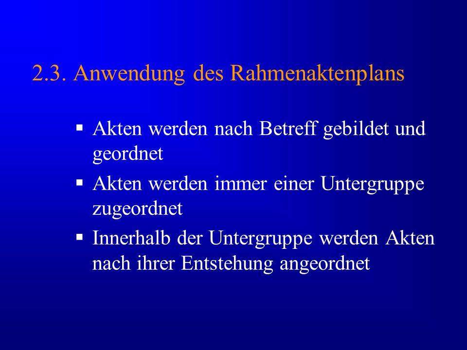 2.3. Anwendung des Rahmenaktenplans Akten werden nach Betreff gebildet und geordnet Akten werden immer einer Untergruppe zugeordnet Innerhalb der Unte