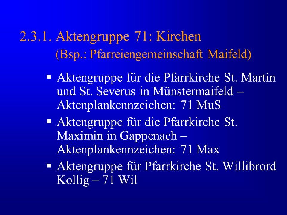 2.3.1. Aktengruppe 71: Kirchen (Bsp.: Pfarreiengemeinschaft Maifeld) Aktengruppe für die Pfarrkirche St. Martin und St. Severus in Münstermaifeld – Ak
