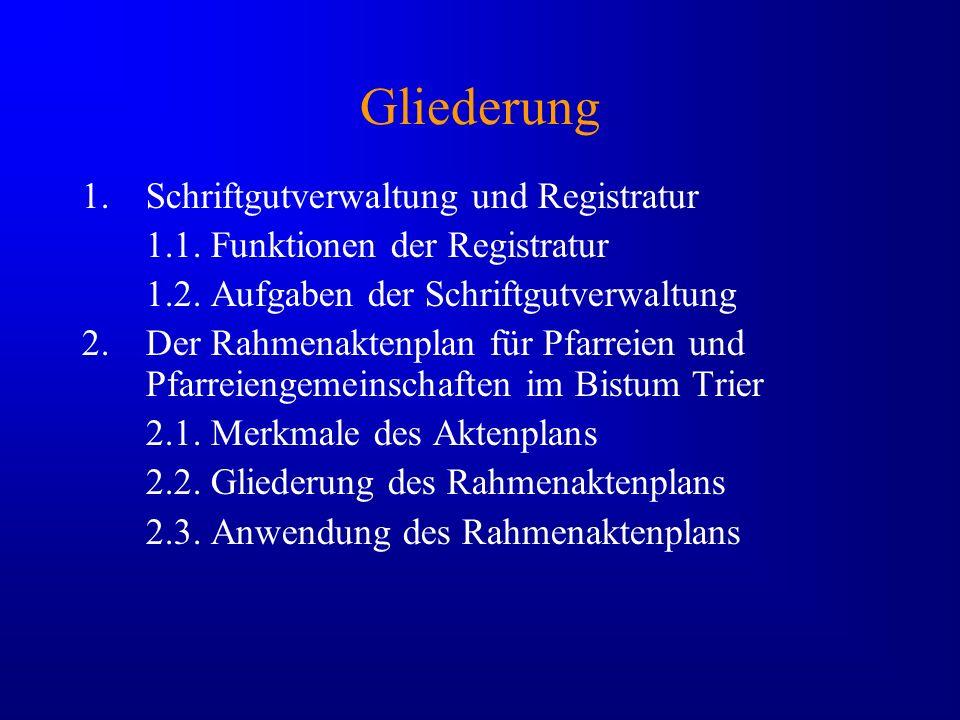 Gliederung 1.Schriftgutverwaltung und Registratur 1.1. Funktionen der Registratur 1.2. Aufgaben der Schriftgutverwaltung 2.Der Rahmenaktenplan für Pfa