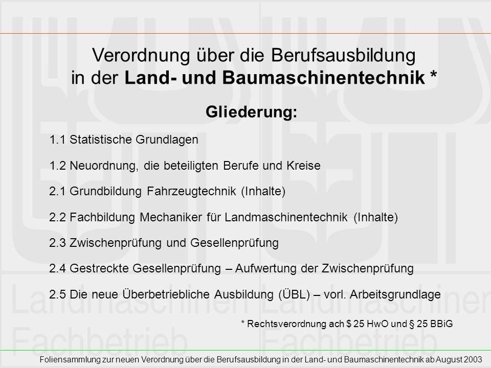 Foliensammlung zur neuen Verordnung über die Berufsausbildung in der Land- und Baumaschinentechnik ab August 2003 Zwischenprüfung Vor Ende des zweiten Ausbildungsjahres Inhalte des 1.