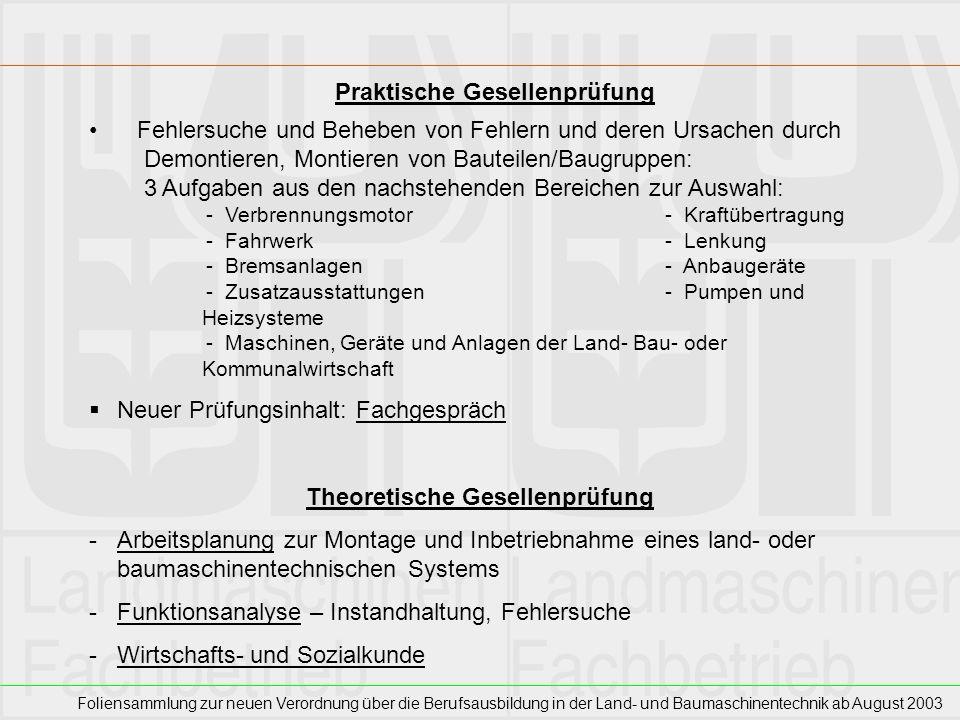 Foliensammlung zur neuen Verordnung über die Berufsausbildung in der Land- und Baumaschinentechnik ab August 2003 Fehlersuche und Beheben von Fehlern