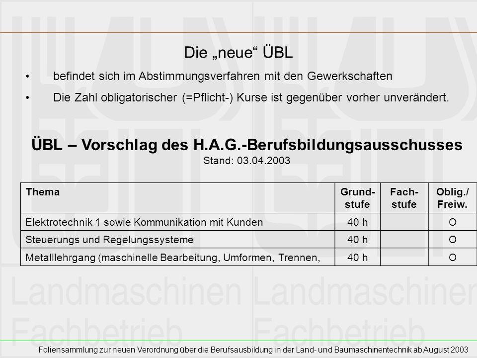 Foliensammlung zur neuen Verordnung über die Berufsausbildung in der Land- und Baumaschinentechnik ab August 2003 Die neue ÜBL befindet sich im Abstim