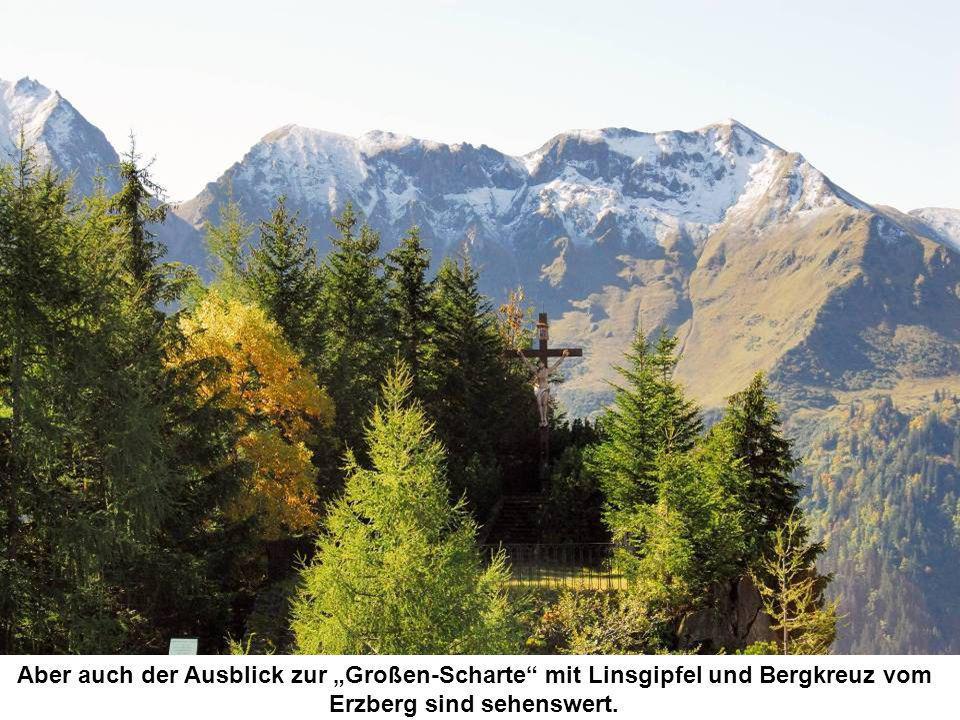 Aber auch der Ausblick zur Großen-Scharte mit Linsgipfel und Bergkreuz vom Erzberg sind sehenswert.