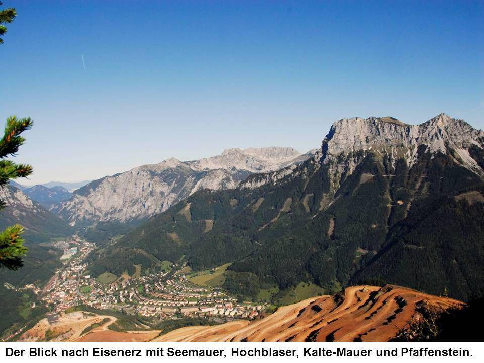 Der Blick nach Eisenerz mit Seemauer, Hochblaser, Kalte-Mauer und Pfaffenstein.