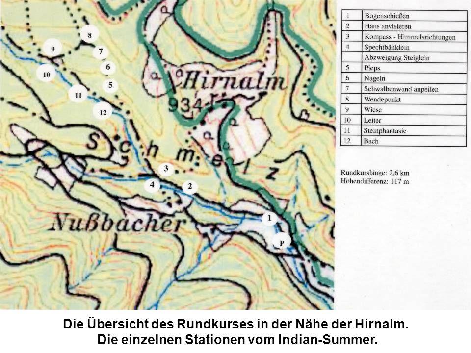 Die Übersicht des Rundkurses in der Nähe der Hirnalm. Die einzelnen Stationen vom Indian-Summer.