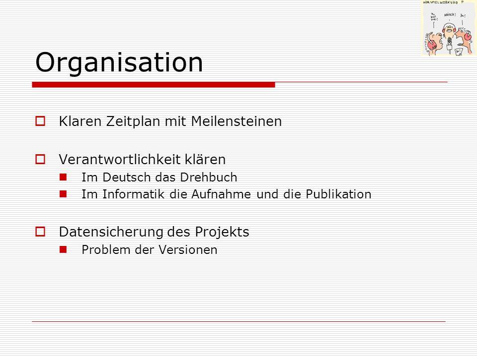 Organisation Klaren Zeitplan mit Meilensteinen Verantwortlichkeit klären Im Deutsch das Drehbuch Im Informatik die Aufnahme und die Publikation Datens