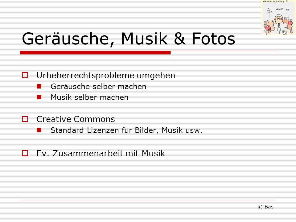Geräusche, Musik & Fotos Urheberrechtsprobleme umgehen Geräusche selber machen Musik selber machen Creative Commons Standard Lizenzen für Bilder, Musi