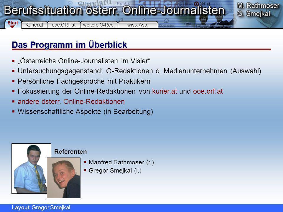 Österreichs Online-Journalisten im Visier Untersuchungsgegenstand: O-Redaktionen ö.