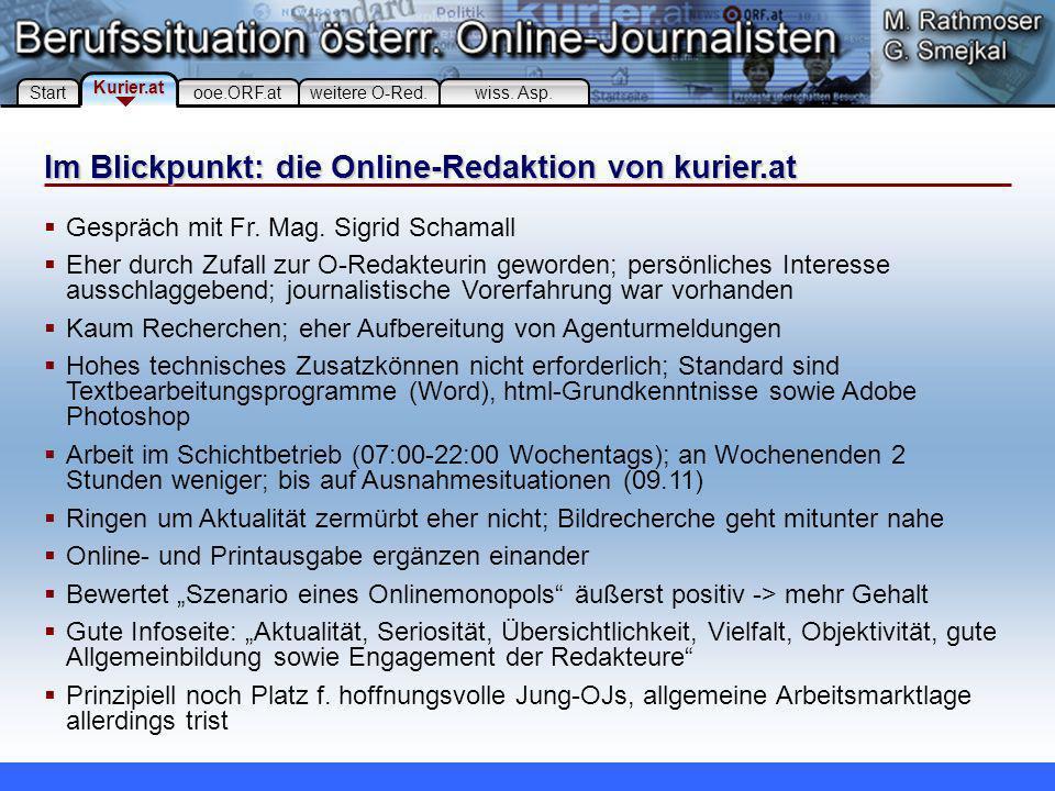 Im Blickpunkt: die Online-Redaktion von ooe.orf.at Start ooe.ORF.at Kurier.at weitere O-Red.wiss.