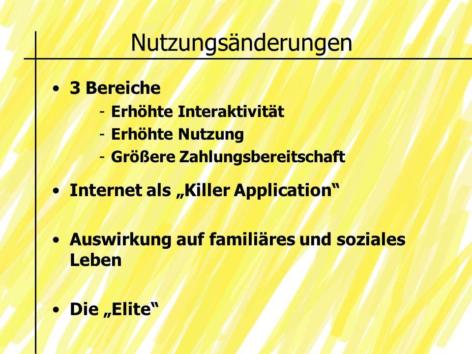 Nutzungsänderungen Internet als Killer Application Auswirkung auf familiäres und soziales Leben Die Elite 3 Bereiche -Erhöhte Interaktivität -Erhöhte Nutzung -Größere Zahlungsbereitschaft