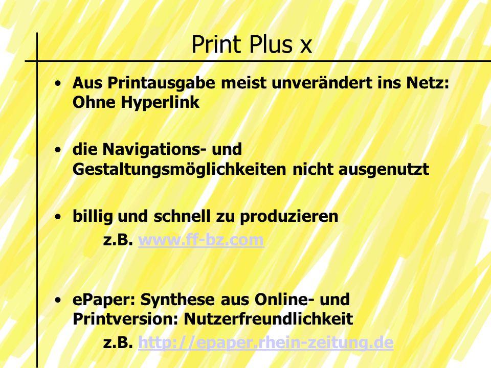 Print Plus x Aus Printausgabe meist unverändert ins Netz: Ohne Hyperlink die Navigations- und Gestaltungsmöglichkeiten nicht ausgenutzt billig und schnell zu produzieren z.B.