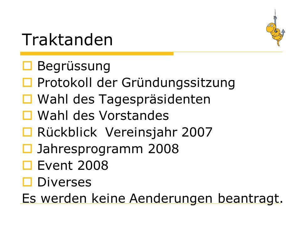 Traktanden Begrüssung Protokoll der Gründungssitzung Wahl des Tagespräsidenten Wahl des Vorstandes Rückblick Vereinsjahr 2007 Jahresprogramm 2008 Event 2008 Diverses Es werden keine Aenderungen beantragt.