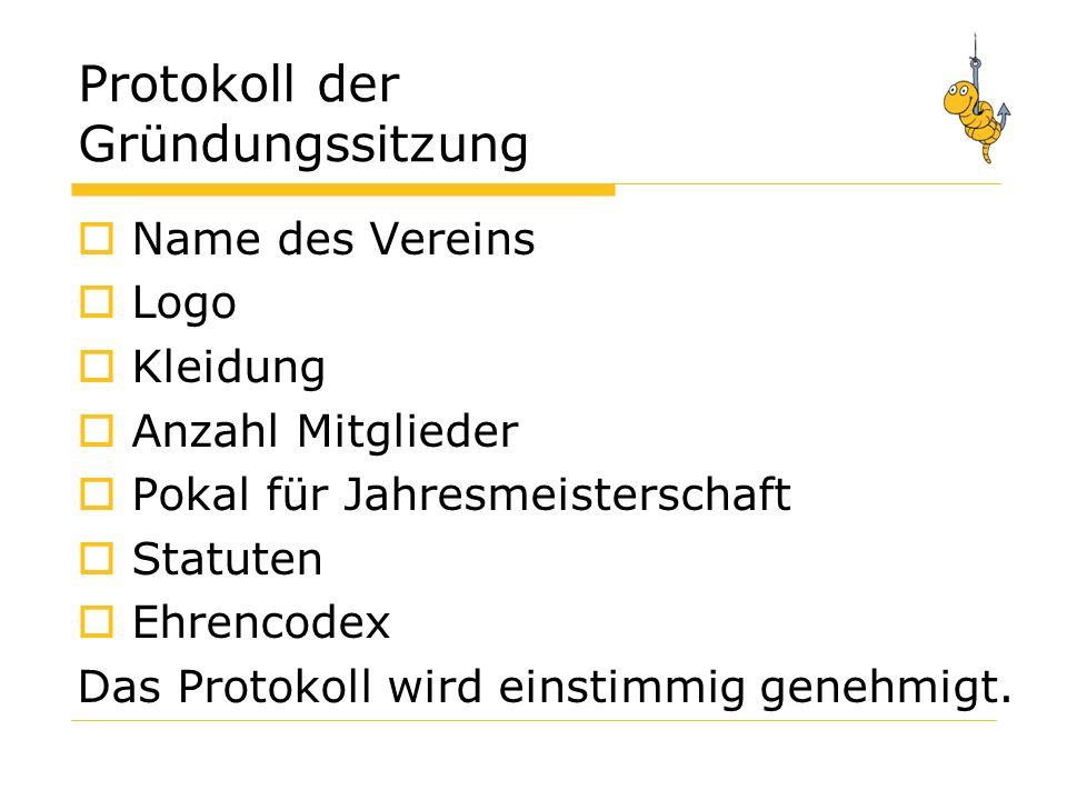 Protokoll der Gründungssitzung Name des Vereins Logo Kleidung Anzahl Mitglieder Pokal für Jahresmeisterschaft Statuten Ehrencodex Das Protokoll wird einstimmig genehmigt.
