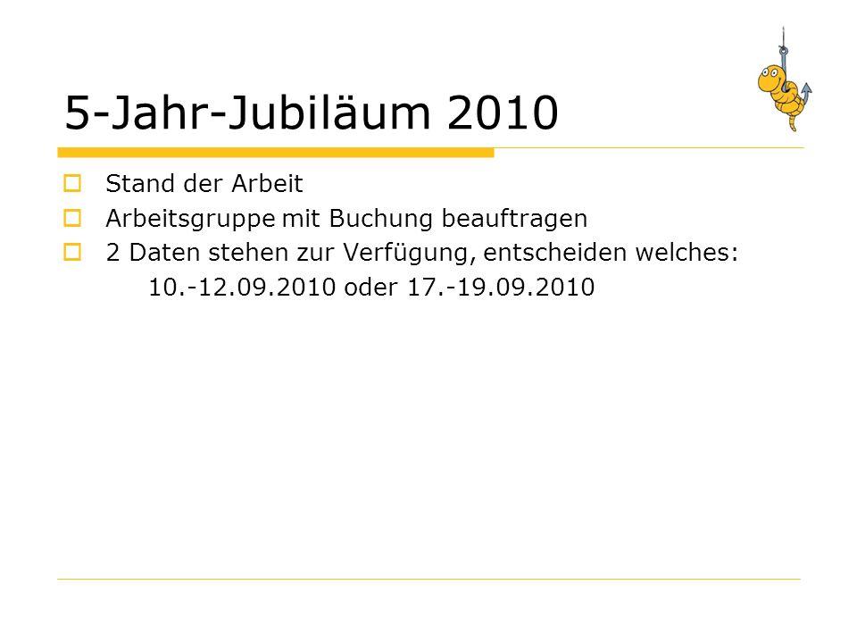 5-Jahr-Jubiläum 2010 Stand der Arbeit Arbeitsgruppe mit Buchung beauftragen 2 Daten stehen zur Verfügung, entscheiden welches: 10.-12.09.2010 oder 17.-19.09.2010