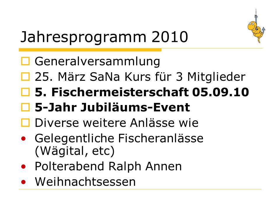 Jahresprogramm 2010 Generalversammlung 25. März SaNa Kurs für 3 Mitglieder 5.