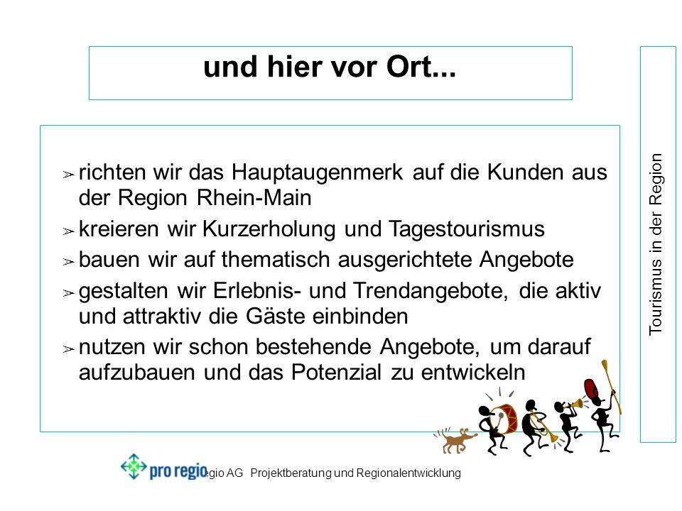pro regio AG Projektberatung und Regionalentwicklung Tourismus in der Region und hier vor Ort...