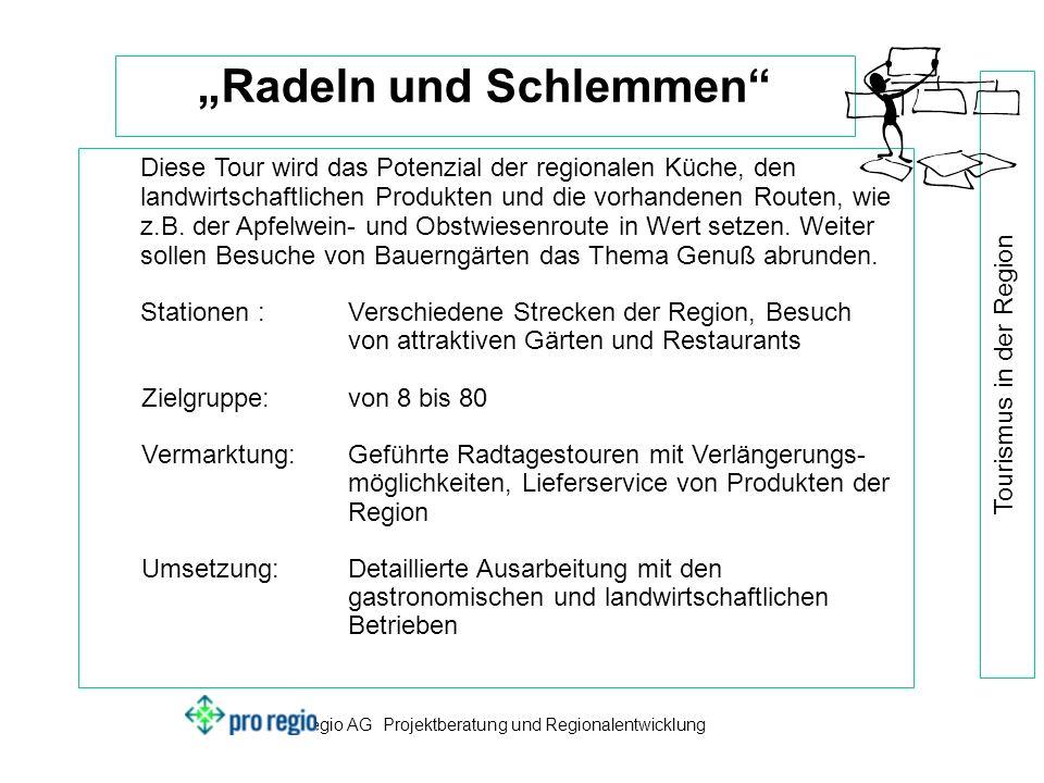 pro regio AG Projektberatung und Regionalentwicklung Tourismus in der Region Radeln und Schlemmen Diese Tour wird das Potenzial der regionalen Küche, den landwirtschaftlichen Produkten und die vorhandenen Routen, wie z.B.