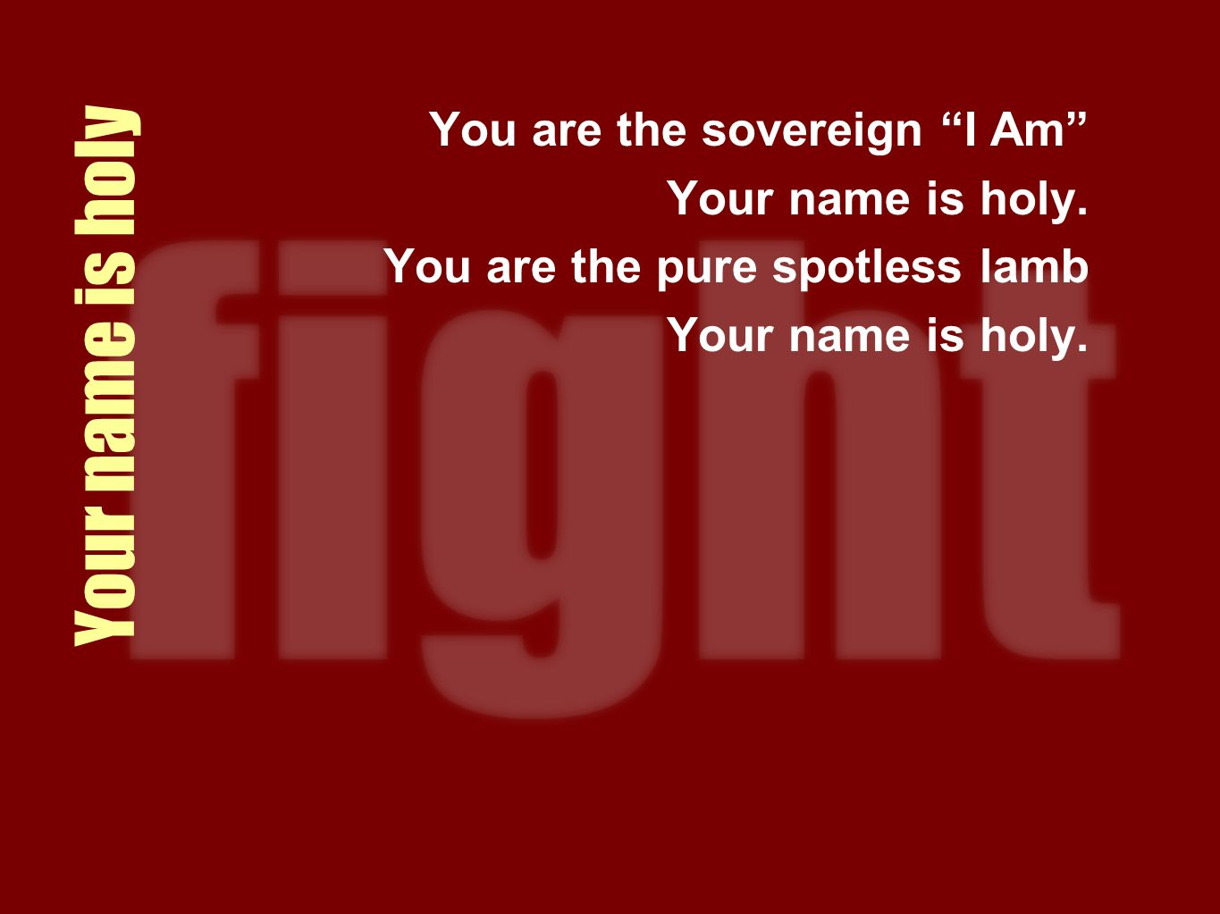 Your name is holy You are the sovereign I Am Your name is holy. You are the pure spotless lamb Your name is holy.
