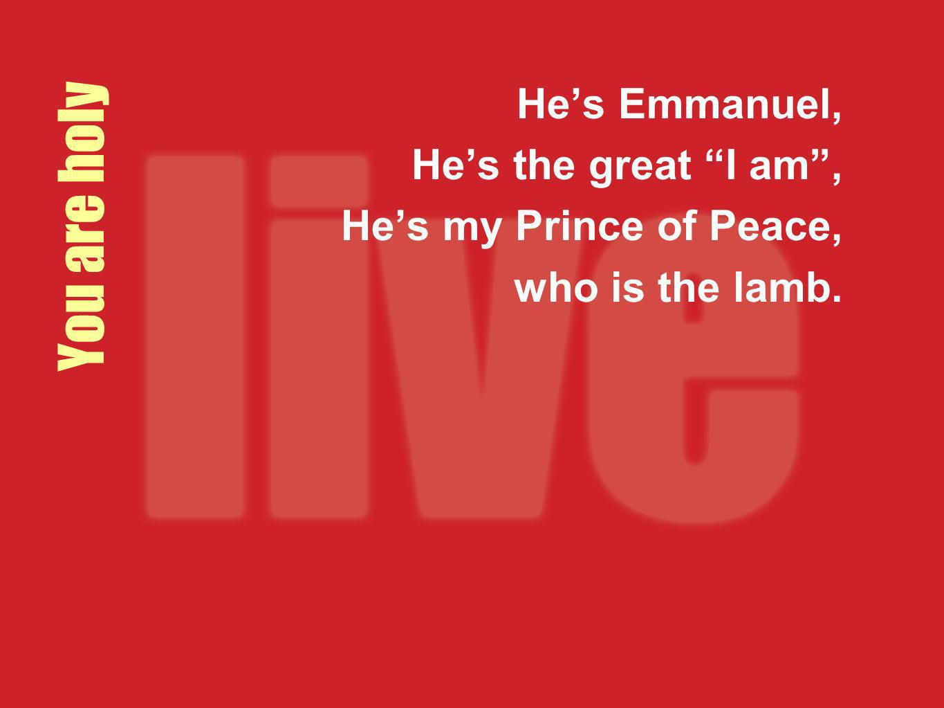 You are holy Hes Emmanuel, Hes the great I am, Hes my Prince of Peace, who is the lamb.