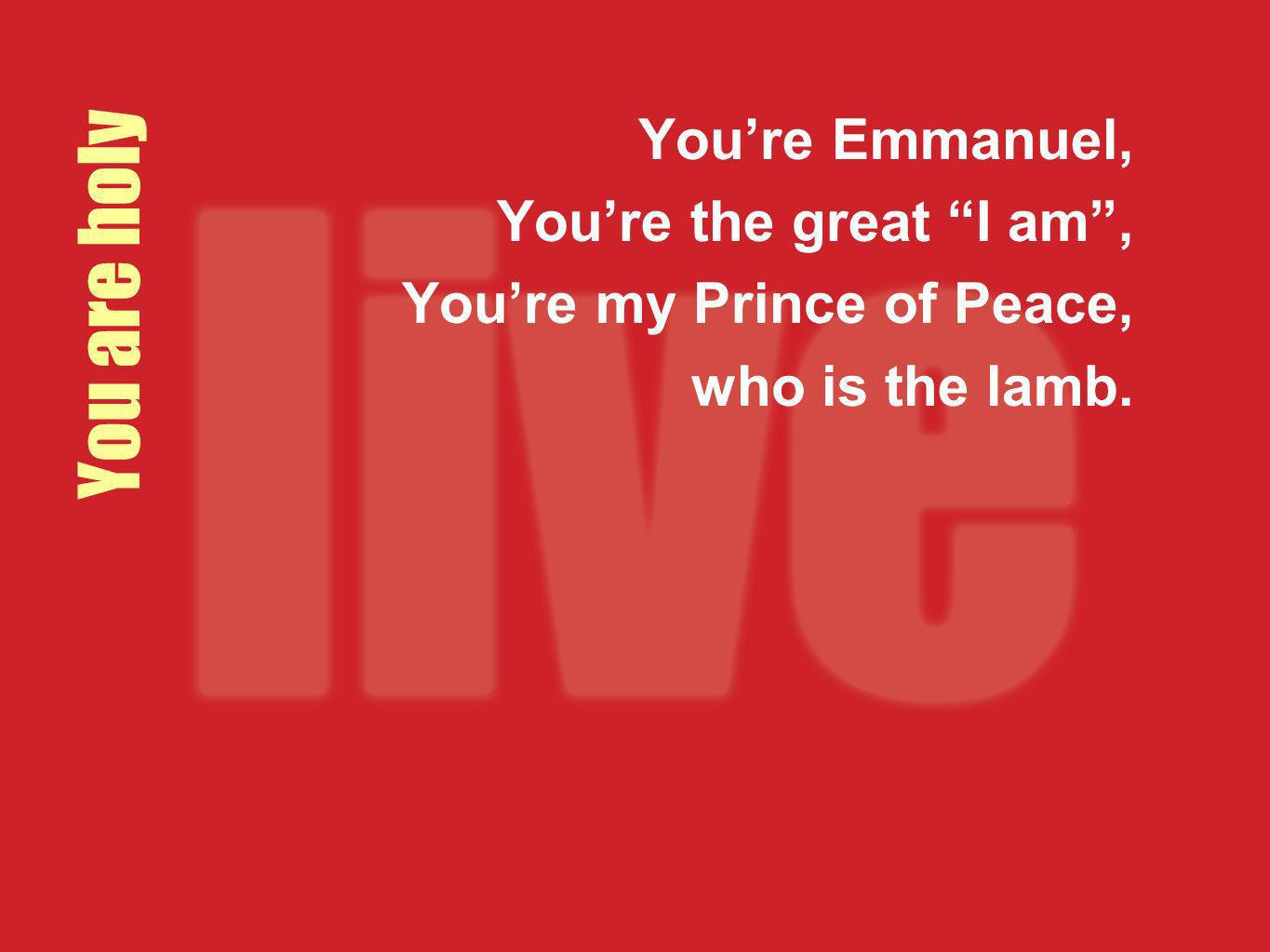 You are holy Youre Emmanuel, Youre the great I am, Youre my Prince of Peace, who is the lamb.
