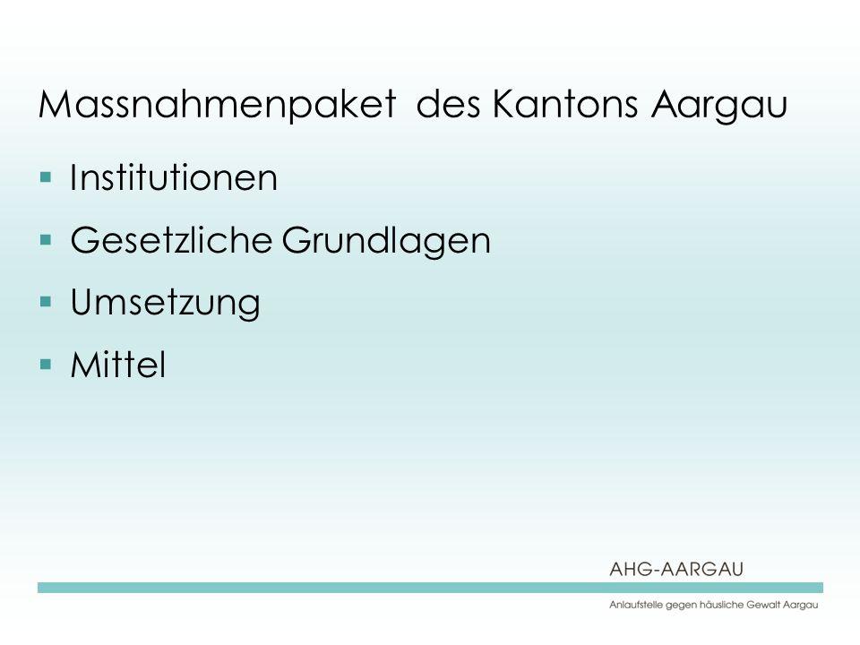 Massnahmenpaket des Kantons Aargau Institutionen Gesetzliche Grundlagen Umsetzung Mittel